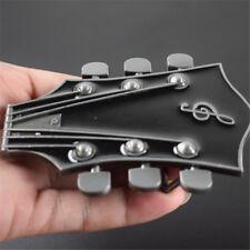 Western Black Guitar Head Belt Buckle Superb Details