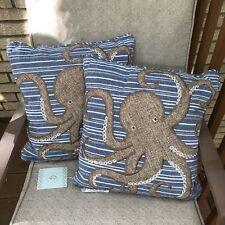 Secret Celebrity Tan Octopus Feather Throw Pillows Nautical Stripe Set Of 2 Nwt
