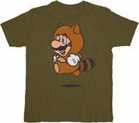 Adult Men's Nintendo Games Super Mario Tanooki Suit Military Green T-shirt Tee