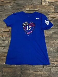 The Nike Tee Alex Morgan #13 Athletic Cut Womens T-Shirt Blue Soccer Sz Small