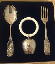 Vintage LW Silver Child's Silverplate Spoon Fork & Rattle Silverware Set