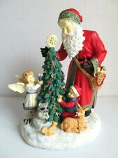 """Father Christmas with Tree Figurine And Music Box """"Deck The Halls"""" Sf Music Box"""