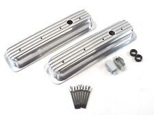 SBC Chevy 350 Center Bolt Short Aluminum Finned Valve Cover Polished BPE-2027