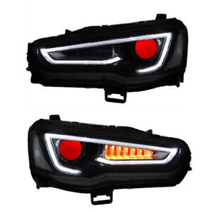 Black Headlight Demon Eyes For Mitsubishi Lancer / EVO x 2008-2017 Front Lamps
