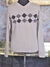 Dockers Mens Sweater Size S V Neck Argyle Stripe Browns Long Sleeve 100% Cotton