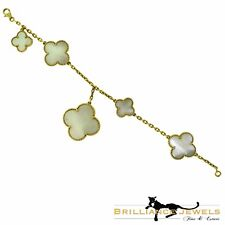 Van Cleef & Arpels Magic Alhambra White Mother of Pearl Bracelet in 18k Yellow G