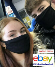 UK SELLER SALE 20 X Everyday Black Face Mask REUSABLE Washable Public Office