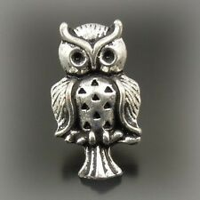 50X Vintage Style Silver Tone Owl Earrings Studs Charms 15*14*8mm