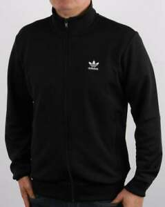 Adidas Trefoil Essentials Track Top in Black - tracksuit, zip up warm up jacket
