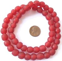 Ghana Red matte Krobo Glass African trade Beads-Ghana