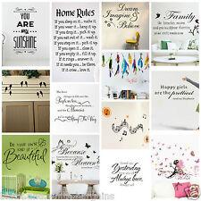 Wall Art Sunshine Family Love Dream Music Butterfly Sticker Decal Home Decor