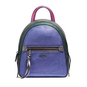 Coach F49122 Andi Metallic Pebbled Leather Backpack Pink Green Purple BRAND NEW