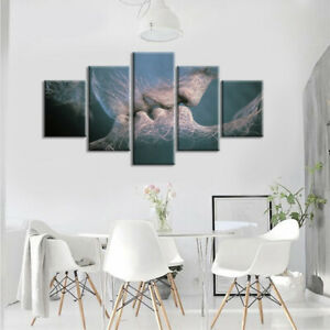 Abstract Kiss Love Canvas Painting Picture Unframed Wall Hanging Ornaments.