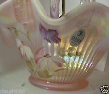 "FENTON ART GLASS  FIELD FLOWERS BASKET HAND MADE GLASS "" 11-PI2948  MINT & boxed"