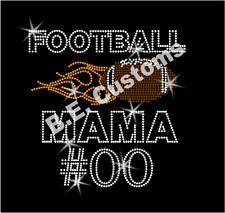 "Rhinestone Transfer ""Football Mama Custom Number"" Mom Hotfix, Iron On, Bling"