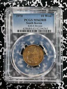 1970 Korea 10 Won PCGS MS63 Lot#A912 Choice UNC! KM#6 Bronze