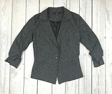Forever 21 blazer womens S gray stretch 3/4 ruched sleeve 1 button lined jacket