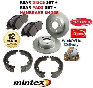 FOR HYUNDAI I30 2007-2012 REAR BRAKE DISCS SET + DISC PAD HANDBRAKE SHOES