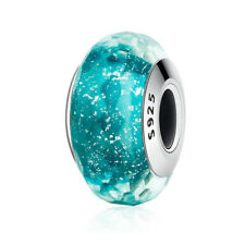 New 925 Sterling Silver Teal Shimmer Murano Glass fit Charm Bead bracelets Chain