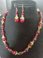 Vintage green Czech glass and red crystal necklace and earrings set