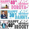 2 x personalised birthday banner photo children adults kid star party balloon