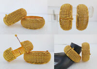 Asian Indian Jewelry Polki Ethnic Cuff Bracelet Gold Plated Bangles Set Openable