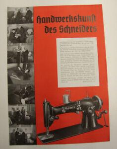 altes Prospekt Phoenix 49  Nähmaschine um 1930 Werbeblatt