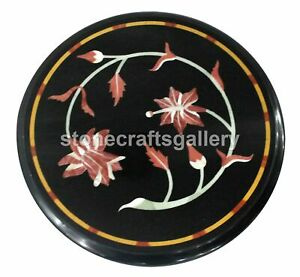 Black Marble Coffee Table Top Carnelian Marquetry Floral Inlay Outdoor Deco B186