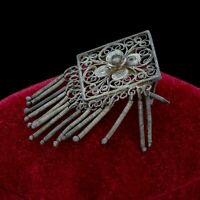 Antique Vintage Nouveau 925 Sterling Silver Filigree Floral Dangle Pin Brooch