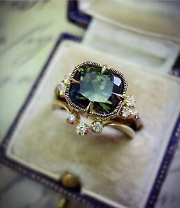 24K YELLOW GOLD FILLED LARGE SQUARE CUT EMERALD SAPPHIRE 2PCS RINGS SIZE N 1/2