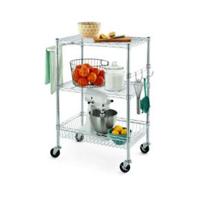 Rolling Utility Metal Cart Heavy Duty With Wheels Basket Storage Wire Shelves