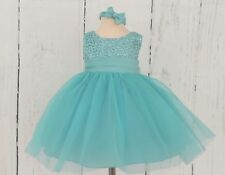 Sevva Baby Dress & Hairband, Teal, Sash,Guipure lace Bodice & Silver Sequence