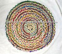 """Indian Handmade Multi Color Reversible Round Rug Floor Door Mat Carpet 36"""""""