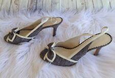 AK Anne Klein Size 8.5M Denim Blue Patent White Open Toe Low Heel Shoes Bow