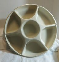 Vintage 4-pc Tupperware #1665 Serving Center Divided Party Tray w/ #1666 Lid