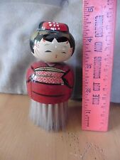Asian Kokeshi Japanese geisha hand painted figure cosmetic brush wooden