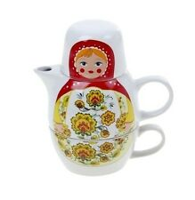 "Teapot and Mug Tea Set Nesting Doll ""Matryoshka Gorodeckaya"" Russian Doll"