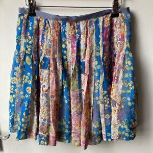 FROSTFRENCH Multi Print Silk Pleated Skirt SIZE 8 UK