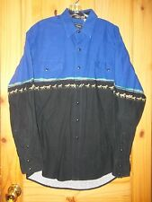 Roper Dark Blue & Black Pearl Snap Shirt w/ Horse Pattern, Mens ML