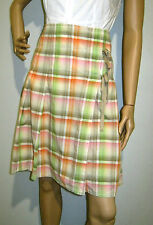 COUNTRY ROAD size 10 cotton checked pleated skirt with side ties - excel cond