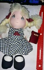 Vintage Precious Moments Doll With Math Book. 1990 Applause Toys. Blonde hair.
