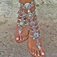 Hot Gladiator Women Rhinestone Strap Strap Flip Flop Sandal Flat Beach New Shoes