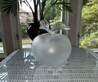 Lalique Grande Pomme - Frosted Crystal Apple Perfume Bottle - Leaf Stopper