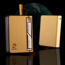 Luxury Gold Metal Cigarette Case Box Holder with USB Flameless Non Smoke Lighter