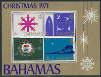 BAHAMAS 1971 Christmas U/M MS VARIETY: 18 C LIGHTBLUE SHIFTED TO LEFT RRR!!
