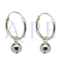 925 Sterling Silver Stunning Sleeper Style Hoop Earrings with Ball