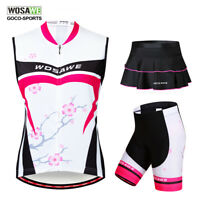 Women's Cycling Vest Jersey+Skort Shorts Padded Quick dry MTB Bike Bicycle Shirt