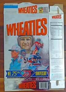 Wheaties Cereal Box 1920-1995 NFL 75th Anniversary Walter Payton, Jerry Rice