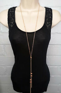 """Stunning 30"""" long ROSE GOLD tone knotted lariat chain & tassel pendant necklace"""