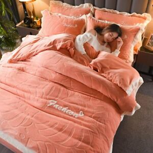 Thick Flannel 4-piece Set Milk Fleece Cut Coral Flannel Bed Sheet Quilt Cover